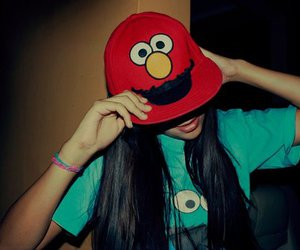 girl, cap, and elmo image
