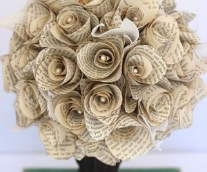 book, bouquet, and flowers image