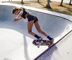 girl, skateboard, and sports image