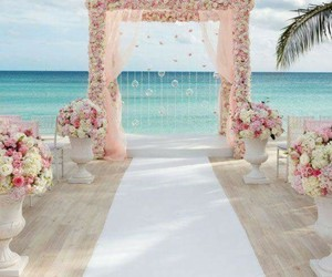 wedding, beach, and flowers image