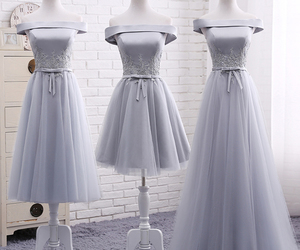 dresses, evening dress, and gray dress image