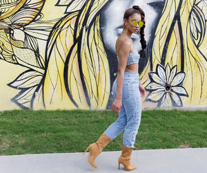 bandeau top, denim, and jeans image