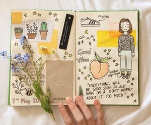 art, journal, and yellow image