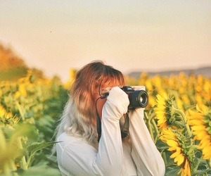 flowers, girl, and landscape image
