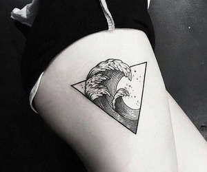 tattoo, waves, and water image