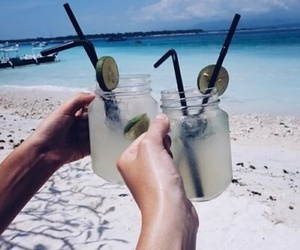 beach, paradise, and drink image