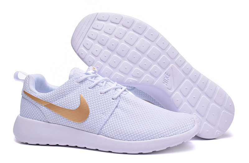 nike roshe run white gold