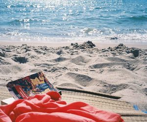 beach, book, and bright image