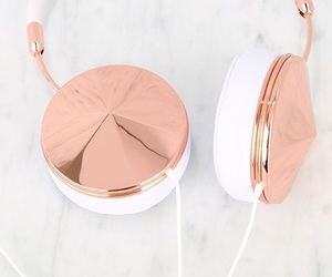headphones, rose gold, and music image