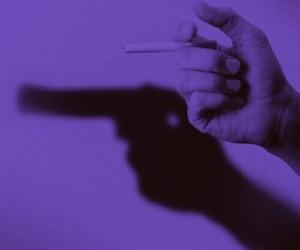 gun, cigarette, and smoke image