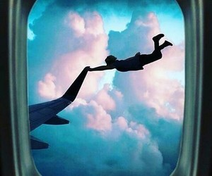 sky, airplane, and clouds image