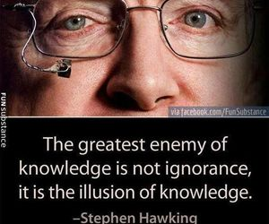 quote, knowledge, and stephen hawking image