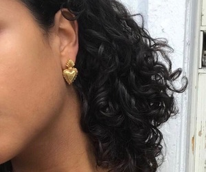 earrings, hair, and gold image