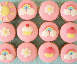 cupcake, pink, and rainbow image
