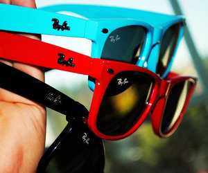 red, sunglasses, and blue image