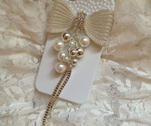 iphone, pearls, and white image