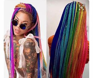 amazing hair, hair, and rainbow image
