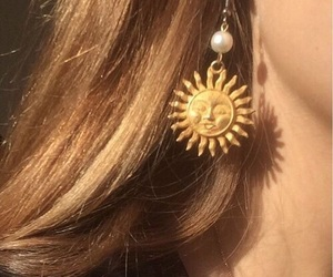 sun, earrings, and aesthetic image