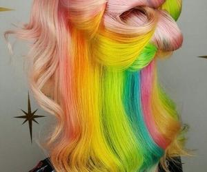 hair, rainbow, and beauty image