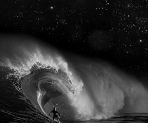 night, surf, and waves image