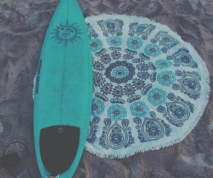 beach, surfing, and blue image