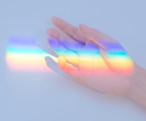 rainbow, wallpaper, and hand image