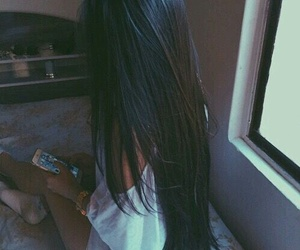 hair, black hair, and long hair image