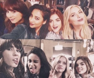 lucy hale, troian bellisario, and aria montgomery image