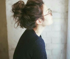 girl, hair, and messy bun image