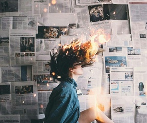 fire, newspaper, and photography image