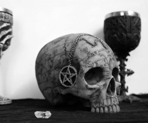 skull, satanic, and witch image