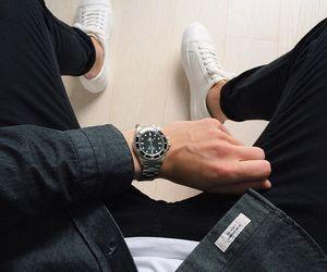 black jeans, denim jacket, and fluffy image