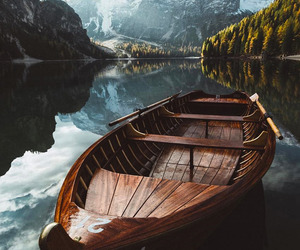 boat, lake, and landscape image