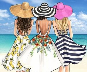 beach, girls, and amistad image