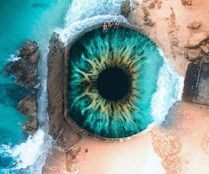 blue, beach, and eye image