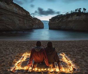 couple, beach, and light image