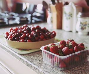 strawberry, food, and cherry image