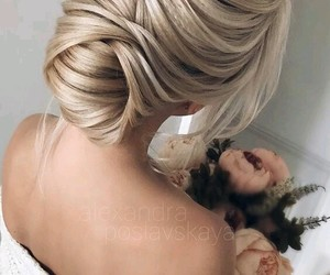 blonde, fishtail, and updo image
