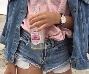 denim, outfit, and shorts image