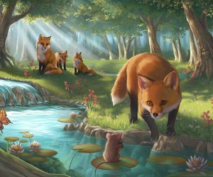 art, fox, and fantasy image