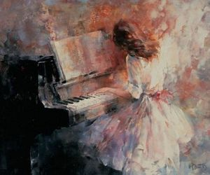 piano, art, and painting image