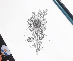 black, drawing, and floral image