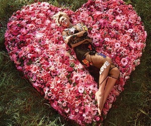miley cyrus, flowers, and heart image