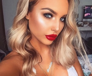 blonde, makeup, and red lips image