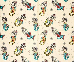 beach, mermaids, and patterns image