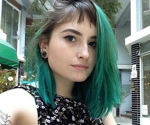 green, green hair, and grunge image