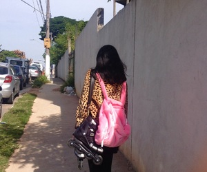 bag, patins, and pink image