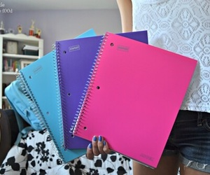 notebook, pink, and blue image