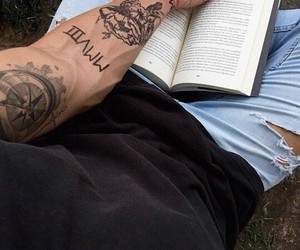 book, boys, and tattoo image
