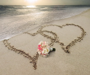 love, flowers, and sea image